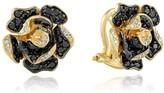 Effy Jewelry Effy 14K Yellow Gold Black and White Diamond Flower Earrings, 1.40 TCW