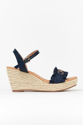 Wallis **WIDE FIT Navy Ruffle Wedge Sandal