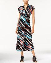 Kensie Ribbon-Print Faux-Wrap Maxi Dress
