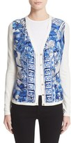 Versace Women's Leaf Print Silk & Cotton Cardigan