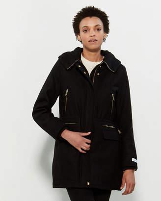 Calvin Klein Wool Hooded Zip Coat