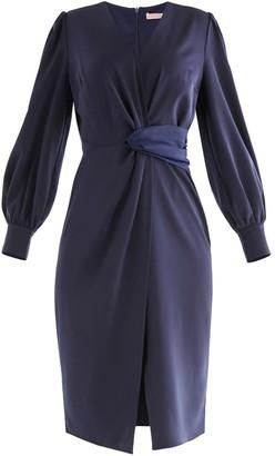 Paisie Tokyo Twist Dress In Navy