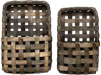Cwi Collection Aged Tobacco Wall Pocket Baskets, Set of 2