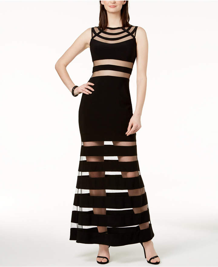 Betsy & Adam Illusion-Stripe Mermaid Gown