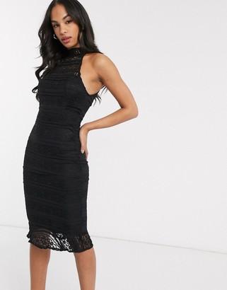 AX Paris lace midi dress with sheer panels