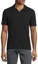 John Varvatos Johnny-Collar Short-Sleeve Polo Shirt, Black