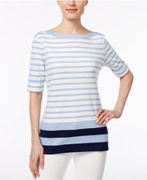 Karen Scott Petite Striped Boat-Neck Top, Only at Macy's