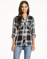 Le Château Check Print Twill Button-Front Blouse