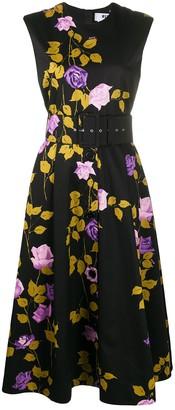 MSGM rose print flared dress