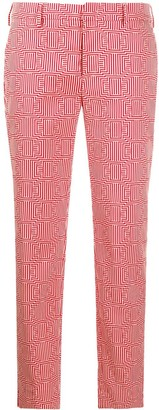 Pt01 Geometric-Print Tapered Trousers