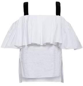 ADAM by Adam Lippes Cold-shoulder Velvet-trimmed Cotton-poplin Top