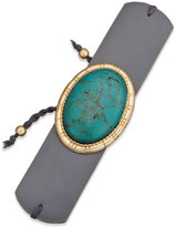 INC International Concepts Gold-Tone Turquoise-Look Faux-Leather Cuff Bracelet, Only at Macy's