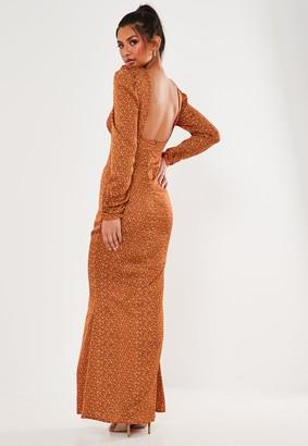 Missguided Rust Polka Dot Satin Low Back Maxi Dress