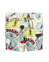 Stella McCartney Taylor Cartoon-Print Swim Trunks, Size 12-36 Months