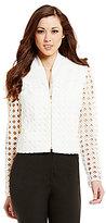 Antonio Melani Mabel Crew Neck 3/4 Sleeve Geometric Lace & Crepe Jacket