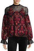 Oscar de la Renta Geometric-Embroidered Tulle Blouse, Black Pattern