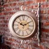 HONGLONG Creative Continental doule-sided circular rotating wall clock, antique pendant, garden iron clock vintage, shop accessories