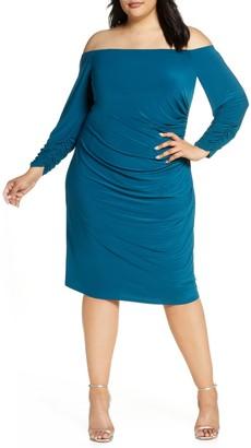 Brinker & Eliza Long Sleeve Shirred Midi Dress