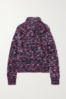 Dries Van Noten Melange Merino Wool-blend Cardigan - Fuchsia