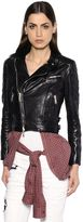 DSQUARED2 Leather Jacket W/ Knotted Plaid Shirt