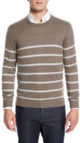Neiman Marcus Cashmere-Cotton Striped Crewneck Sweater, Smoke/Ash