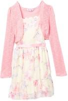 Beautees Long Sleeve Shrug & Scalloped Neckline Floral Dress (Big Girls)