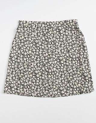WHITE FAWN Knit Floral Girls Skater Skirt