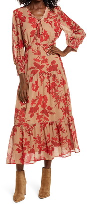 Sam Edelman Floral Long Sleeve Tiered Midi Dress