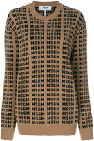 MSGM logo intarsia jumper - women - Spandex/Elastane/Wool - XS