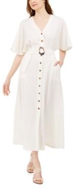 Calvin Klein Metallic-Stripe Belted Maxi Dress
