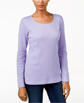 Karen Scott Long-Sleeve Scoop-Neck Top, Only at Macy's