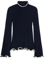 Stella McCartney Ruffled Ribbed Wool Turtleneck Sweater - Midnight blue