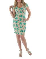 24/7 Comfort Apparel Floral Princess Sheath Dress