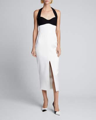 Rasario Colorblocked Halter-Neck Slit Dress