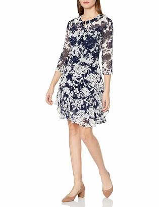 Donna Morgan Women's 3/4 Sleeve Printed Chiffon Flounce Dress