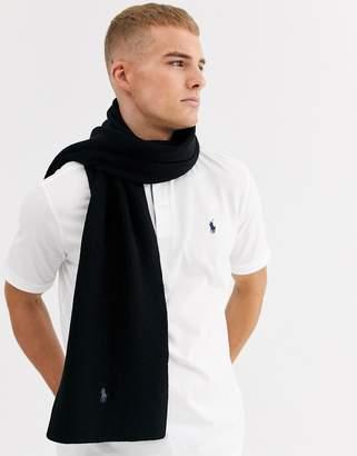 Polo Ralph Lauren merino wool scarf in black