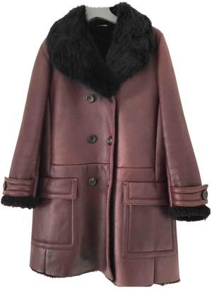 Miu Miu Burgundy Fur Coat for Women