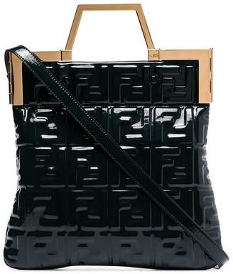 Fendi FF embossed patent leather tote bag