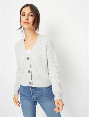 George Grey Ribbed Knit Cropped Cardigan