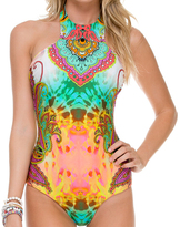 Luli Fama Glam High Neck Engineered 1 Piece In Multicolor (L511784)
