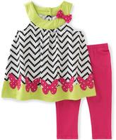 Kids Headquarters Black & Pink Chevron Tunic & Leggings - Infant Toddler & Girls
