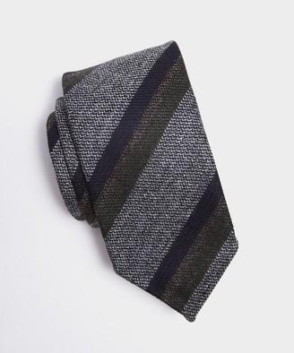 Drakes Texture Stripe Tie in Grey/Olive