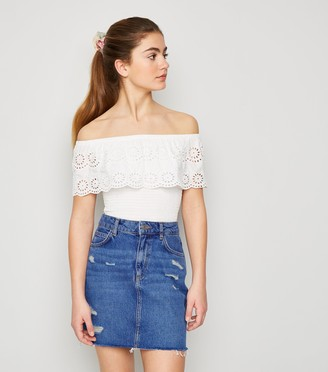 New Look Girls Bright Ripped Denim Mom Skirt