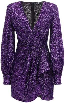 Amen Ruffled Sequins Mini Dress