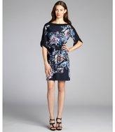 Tahari navy abstract floral print jersey 'Kathryn' tunic dress