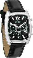 MC M&c Men's Elegant Chronograph Style PU Leather Band Watch