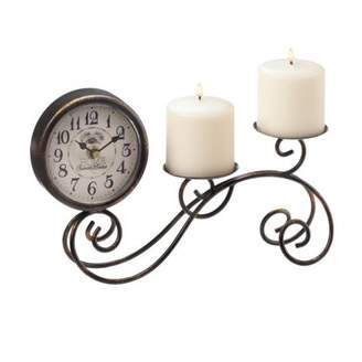 Accent Plus Scrollwork Table Clock & Candleholder