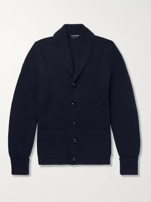 Tom Ford Shawl-Collar Ribbed Wool Cardigan - Men - Blue