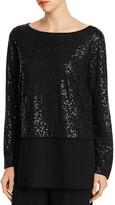 Eileen Fisher Boat Neck Sequin Silk Top - 100% Bloomingdale's Exclusive