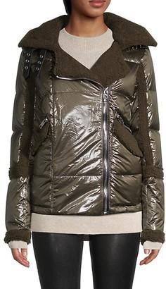 Nicole Benisti Geilo Faux Fur Down Moto Jacket